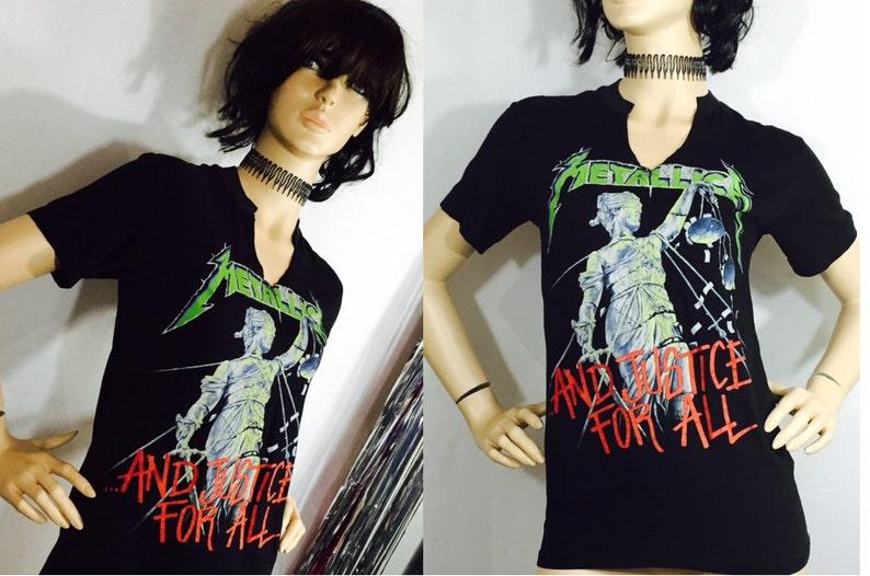 5c8bc732d Vintage Tee Shirt Metallica Tour Concert T-Shirt Justice for | Etsy