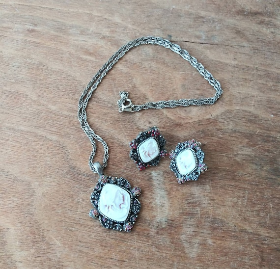 Art Deco Style Cameo Vintage Sterling Silver and Marcasite Cameo Necklace
