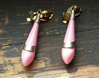 Vintage Earrings Pink Drops 60's Mid Century Mod Fashion Jewelry Abstract Teardrop Pastel Clips