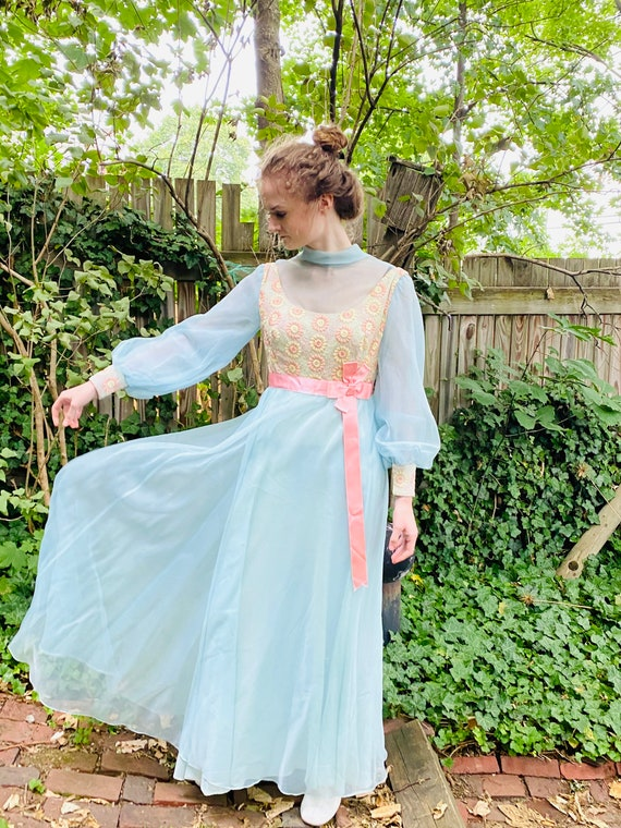 Vintage Pastel Prom Dress Embroidered Top Chiffon