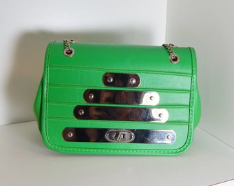 Vintage Purse Lime Green & Silver Chrome Accents and Chain 60's Mid Century Mod Fashion Handbag