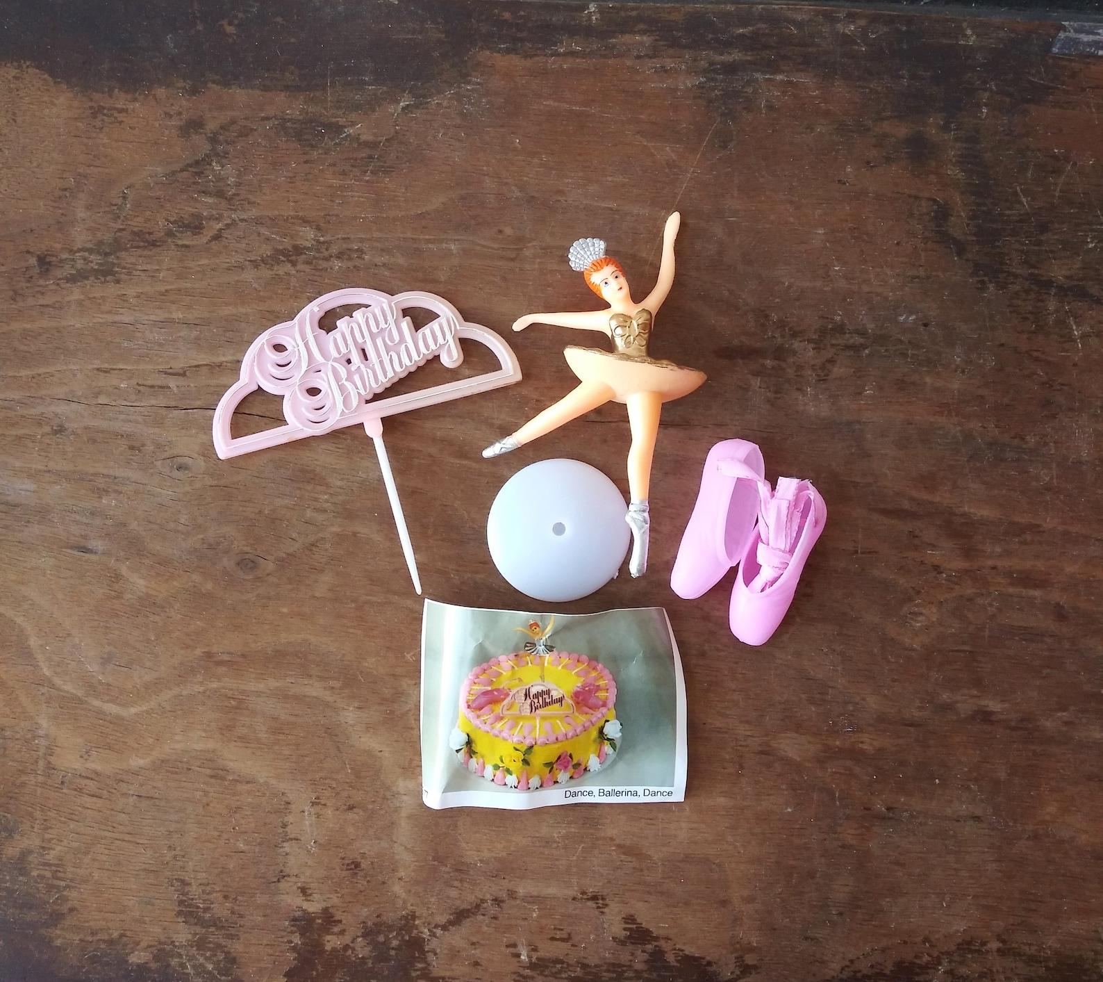 vintage birthday cake decorations ballerina pink ballet shoes happy birthday 70's 80's cake decorating supplies