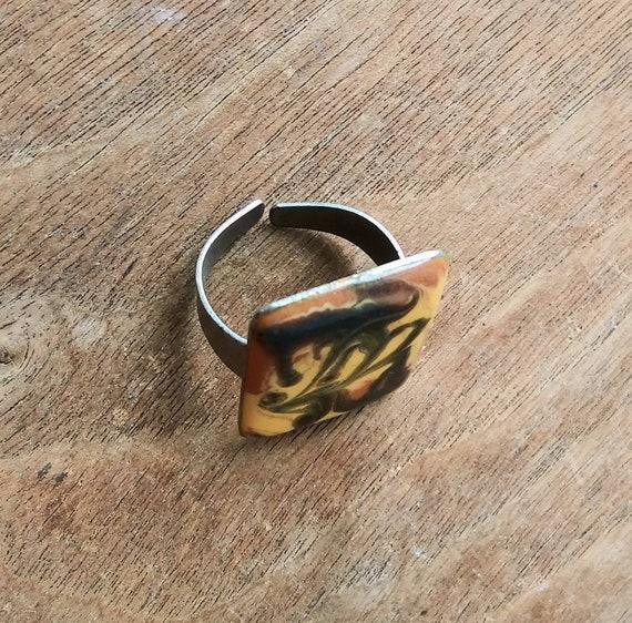 Vintage Ring Adjustable Rectangle Enamel Swirl Pumpkin Beige Black Abstract 60/'s 70/'s Fashion Jewelry