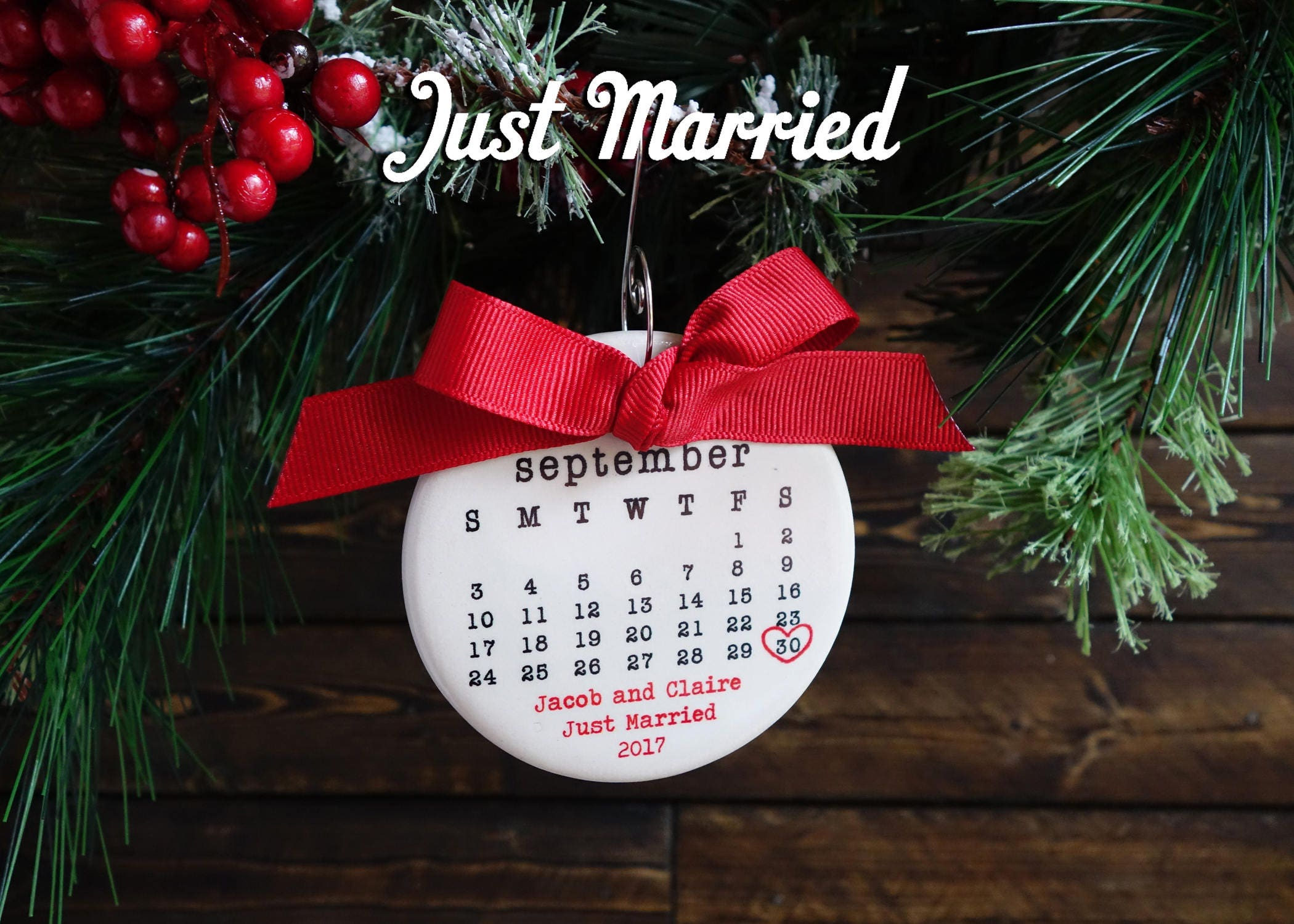 JUST MARRIED ornament Wedding ornament personalized | Etsy