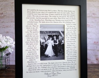 Wedding song lyrics Photo Mat personalized with Names, first dance frame, personalized wedding gift, bride and groom, wedding photo