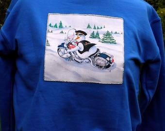 Youth Size Medium Blue Motorcycle  Biker  Snowman Appliqued Sweatshirt