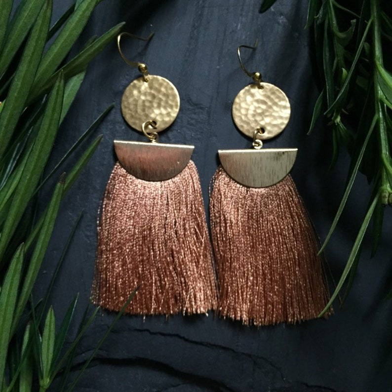 Long tassel fringe earrings image 0