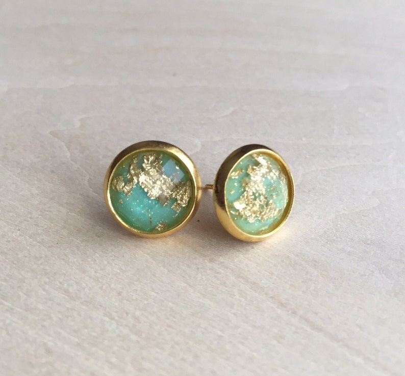 Gold fleck flake sparkly stud earrings image 0