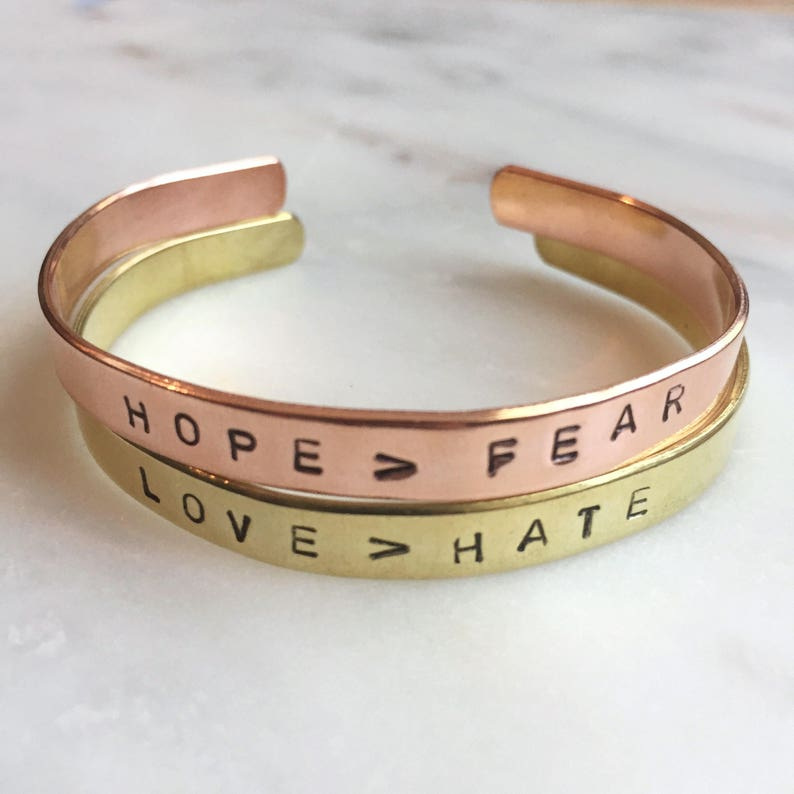Hand stamped cuff bracelet can be customized image 0