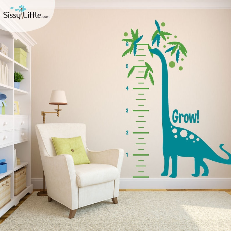Growing Dino Measurement Chart  Vinyl Wall Decals image 0