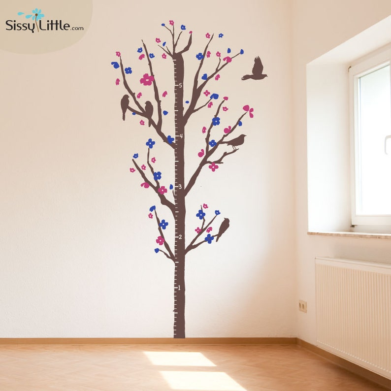 Cherry Blossom Measurement Tree  Vinyl Wall Decal image 0