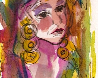 """ACEO """"Gypsy Woman"""" an Abstract Watercolor Portrait"""
