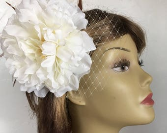 Snow Peony Flower and Feather Fascinator