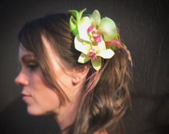 Green Orchid Flower and Feather Fascinator
