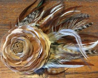 Tan Ranunculus Silk Flower and Feather Fascinator