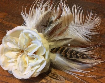 Old Fashioned Rose Silk Flower and Feather Fascinator