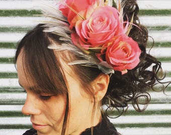 Pink Rose Flower and Feather Headband