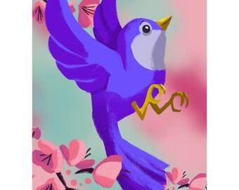 Blue Bird print of a bird in cherry blossoms