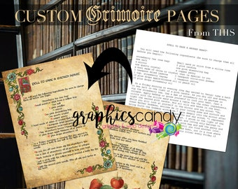 CUSTOM Grimoire, Book of Shadows, Spell book Pages - Made to order - PRINTABLE - Fast turnaround