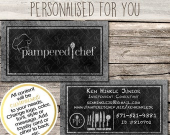 Pampered Chef Independent Consultant Business Card Design - Chalk Menu Board - Multi Level Marketing - MLM - Free Shipping USA ONLY!