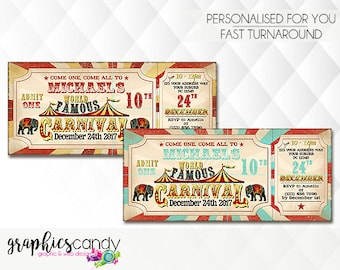 Circus, Sideshow Alley, Fair or Carnival Party or Wedding Ticket Invitation - Printable - DIY - Digital File - PERSONALISED