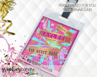 Unicorn Lanyard Ticket Invitation - Editable - Printable - DIY - Digital File - INSTANT DOWNLOAD - Shower - Wedding
