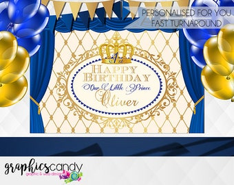 Royal Prince or Princess Party Backdrop Banner - Banner made in your sizing - Customised Party Banner - Printable Banner