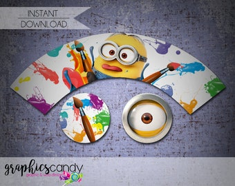 Painting Minions Cupcake Wrapper & Topper - Birthday Party or Baby Shower Invitation - Painting Party - Printable - INSTANT DOWNLOAD!