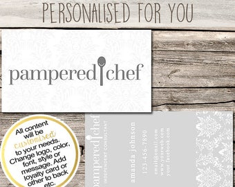 Chef business card etsy pampered chef independent consultant business card design business cards multi level marketing mlm colourmoves Images