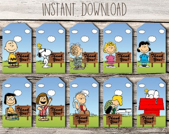 Snoopy Thank You Tags - Printable - DIY - Digital File - INSTANT DOWNLOAD