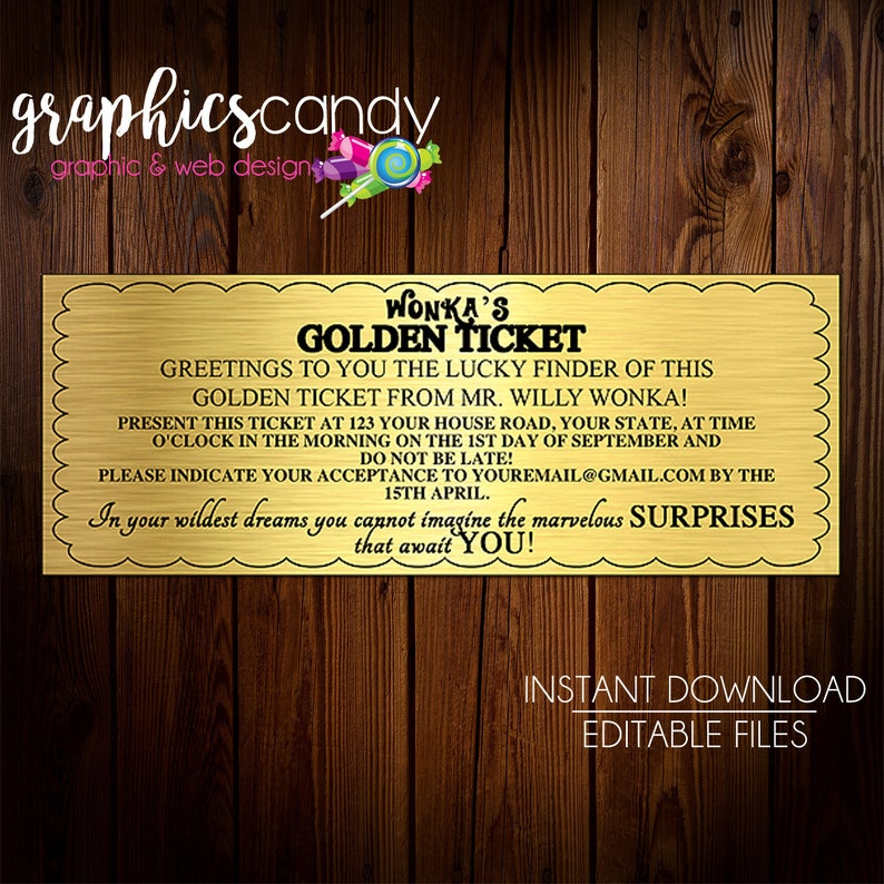photograph about Wonka Golden Ticket Printable named Willy Wonka Golden Ticket Invitation Chocolate Wrapper - Editable - Printable - Do-it-yourself - Electronic Report - Fast Obtain - Shower - Marriage ceremony