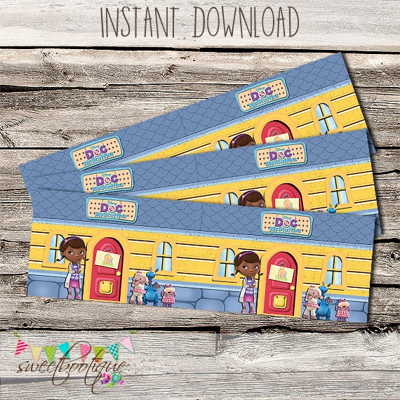 picture about Doc Mcstuffins Printable Labels called Document McStuffins Influenced Bottle Labels - Birthday Get together or