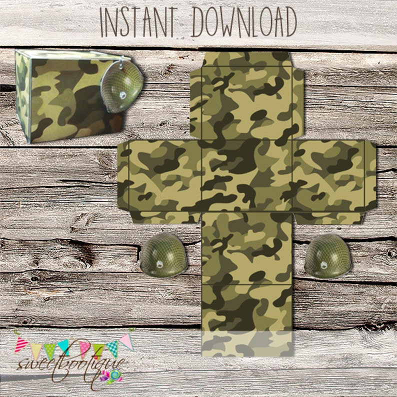 Army Camouflage Treat Box - Army Birthday Party, Laser Tag, Paintball,  Skirmish - Printable - DIY - Digital File - INSTANT DOWNLOAD