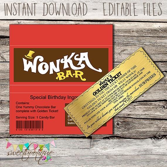 Willy Wonka Golden Ticket Invitation Chocolate Wrapper