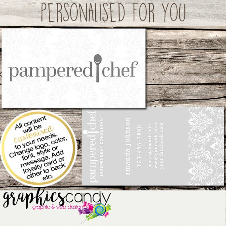 Pampered Chef Independent Consultant Business Card Design Business Cards Multi Level Marketing MLM Free Shipping USA ONLY