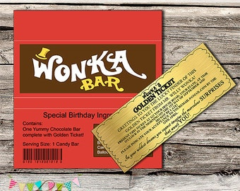 Willy Wonka Golden Ticket Invitation & Chocolate Wrapper - Editable - Printable - DIY - Digital File - INSTANT DOWNLOAD - Shower - Wedding
