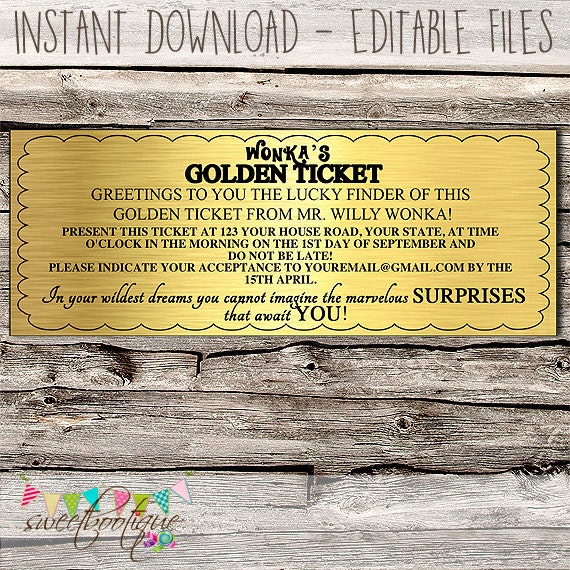 graphic regarding Wonka Golden Ticket Printable named Willy Wonka Golden Ticket Invitation Chocolate Wrapper - Editable - Printable - Do-it-yourself - Electronic Record - Quick Down load - Shower - Marriage