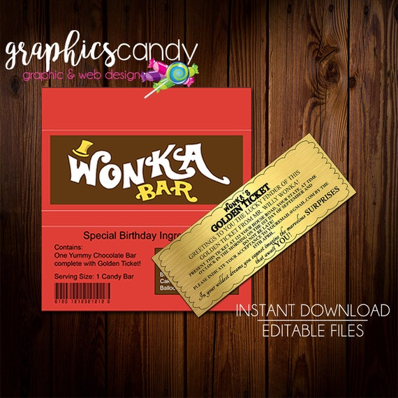 graphic relating to Golden Ticket Printable identify Willy Wonka Golden Ticket Invitation Chocolate Wrapper