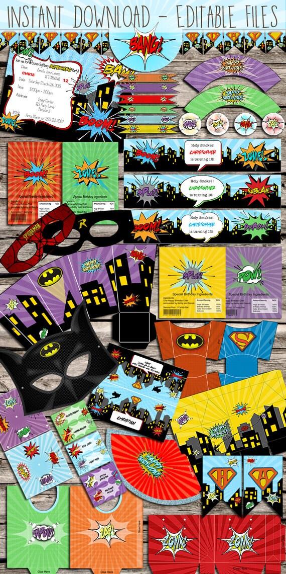 Superhero / Comic Book Party Kit - DIY - Digital File - Printable