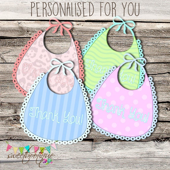Attractive Bib Thank You Tags   Name Tags   Favours   Baby Shower   Party Favor   DIY    Printable   CUSTOMISABLE From GraphicsCandy On Etsy Studio