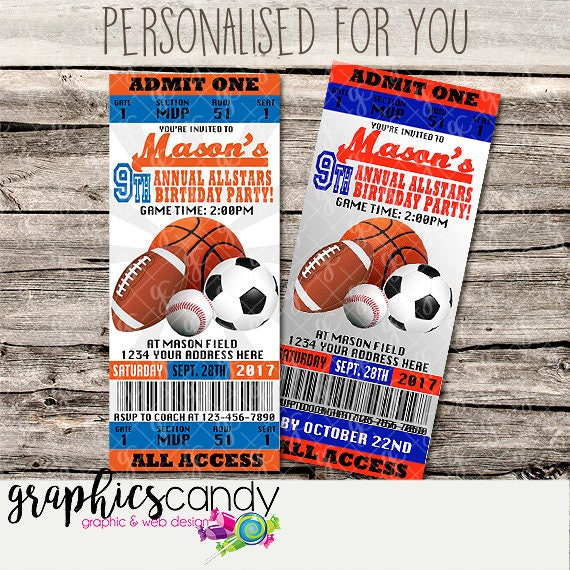 sports ticket invitations 2 all sports printable diy digital