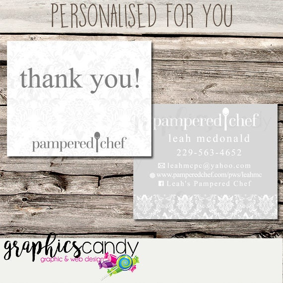 Pampered Chef Independent Consultant Thank You Card Design Gift Certificates Multi Level Marketing MLM