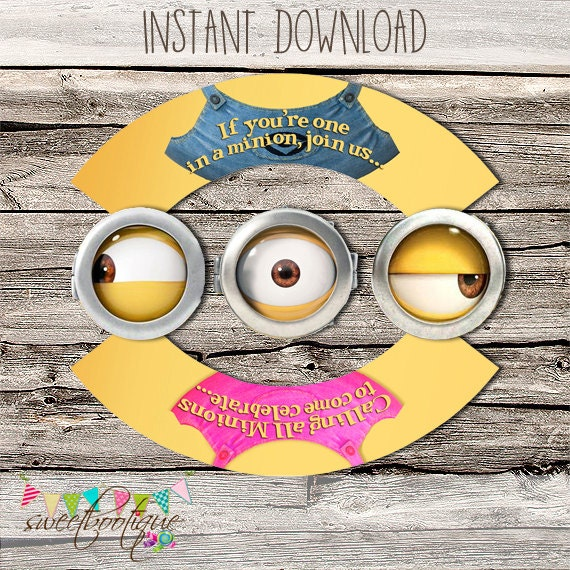 picture relating to Minions Logo Printable known as Minions Cupcake Wrapper Topper - Female and Boy - Birthday