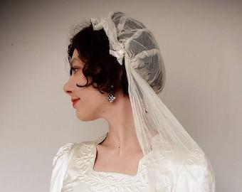 d487e83d73a5b 1920s Wedding Veil Cap Ivory Mesh Lace   Ribbon  20s Bridal Head Piece Juliet  Cap   Great Gatsby Downton Abbey Art Deco Flapper Veil
