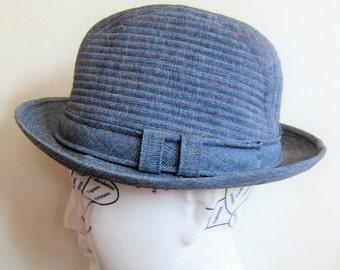 vintage 1960s Blue Grey Fedora Hat / 60s Trav'ler Country Gentleman Hat