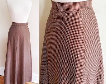 1970s Brown Maxi Skirt White Microdot Pattern/ 70s High Waisted Polka Dot Print Long A Line Skirt / S / Maura