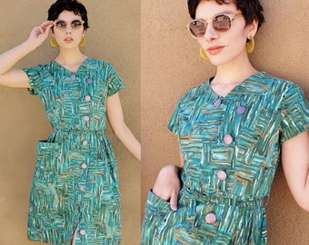 1950s Green Blue Abstract Print Summer Dress Asymmetrical Buttons Pocket Belt / MCM Modern Aqua Pattern Cotton Dress Short Sleeve Marlene