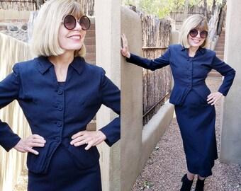 1950s Navy Blue Wool Blend Skirt Suit Carson Pirie Scott Collegiene Moordale Junior Suits /Blazer Matching Wiggle Skirt Office Secretary / S