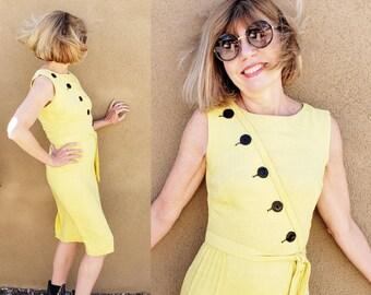 1950s Yellow Sleeveless Dress Black Diagonal Buttons / 50s Summer Dress Wiggle Skirt Matching Sash Tie Belt / S / Beatriz