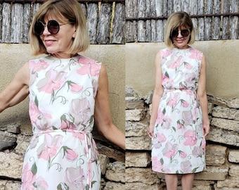 1960s Floral Print Shift Dress Pomette / 50s 60s Pink Green Pastel Sleeveless Summer Dress Sash Tie Dress / S /
